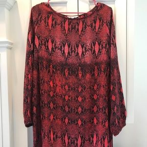 BB Dakota Long-sleeve Red/Pink Snakeskin Dress